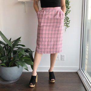 2/25 🍉 bubblegum pink plaid midi skirt